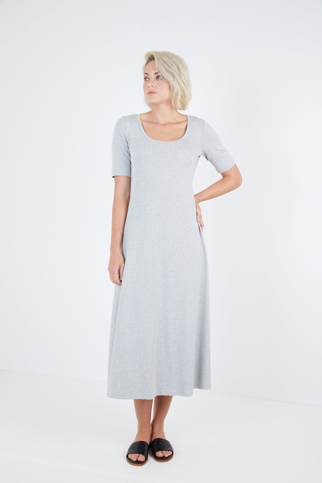 Scoop Neck Midi Dress With Back Pleat - Sale