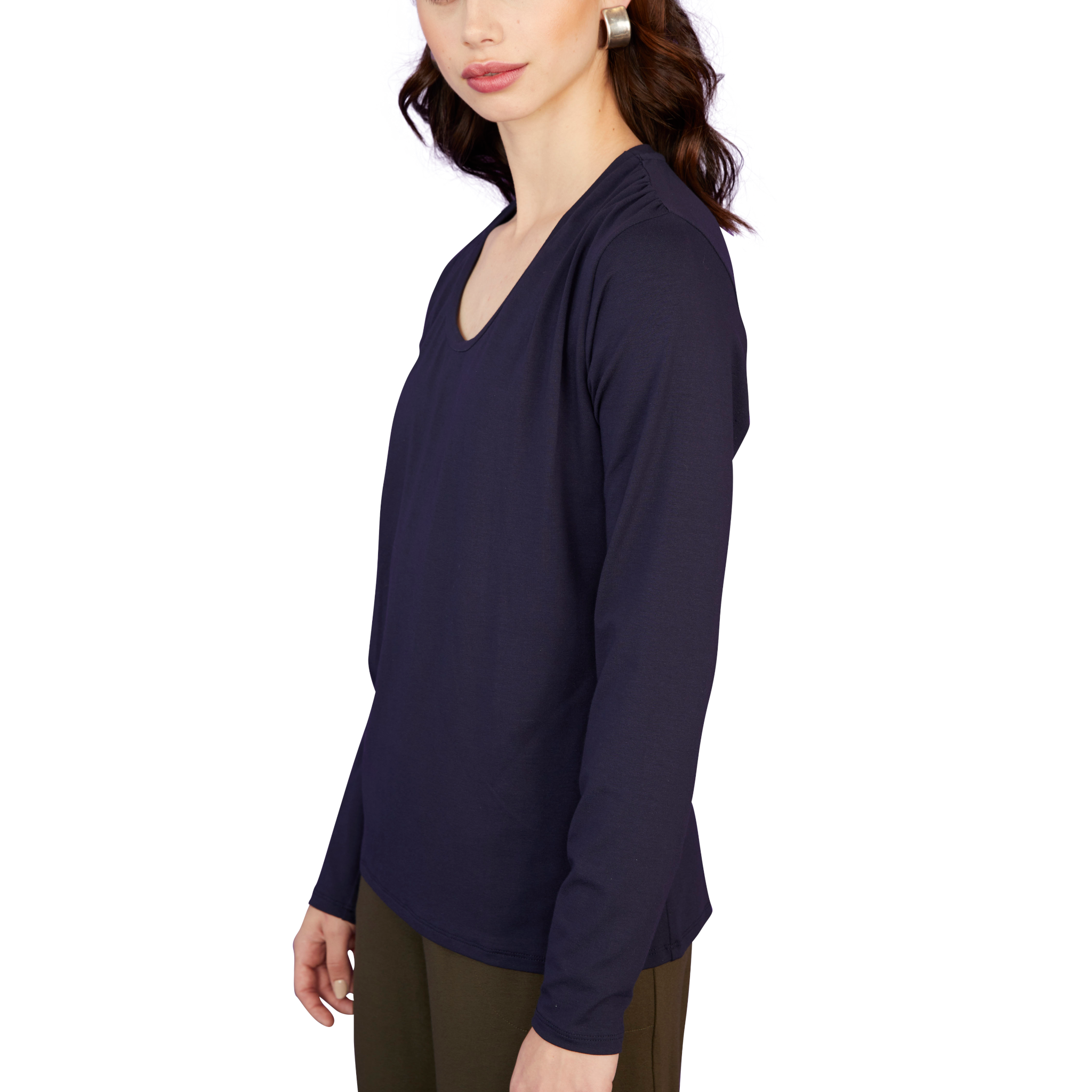 Gathered Shoulder Long Sleeve Tee - Sale