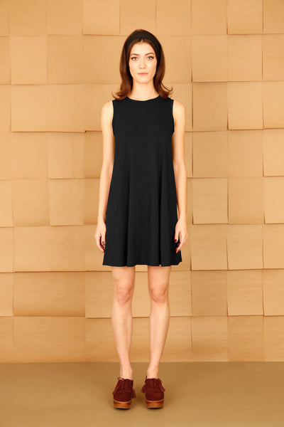 Sleeveless A-Line Dress with Pockets