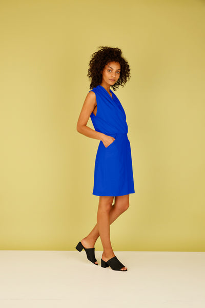 Sleeveless Draped Faux Wrap Dress with Pockets - Cobalt