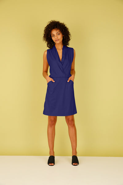 Sleeveless Draped Faux Wrap Dress with Pockets - Navy