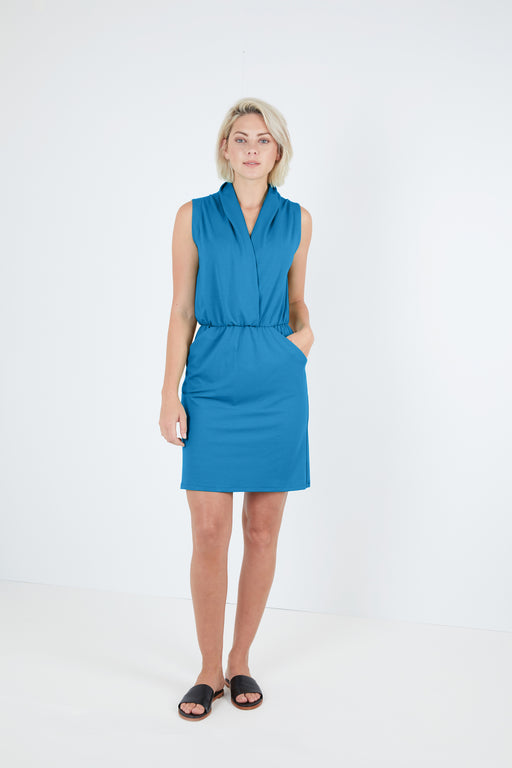 Sleeveless Draped Faux Wrap Dress with Pockets - Sale