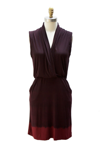 Dip Dye Capsule - Sleeveless Draped Faux Wrap Dress with Pockets