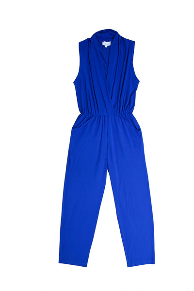 Knit jersey jumpsuit draped front made in USA