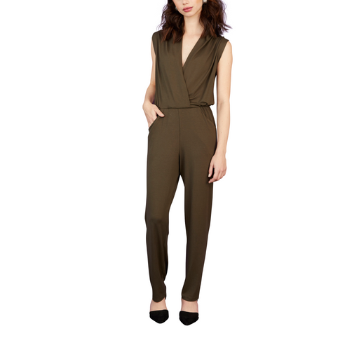 jersey jumpsuit draped rayon ankle length v-neck olive green