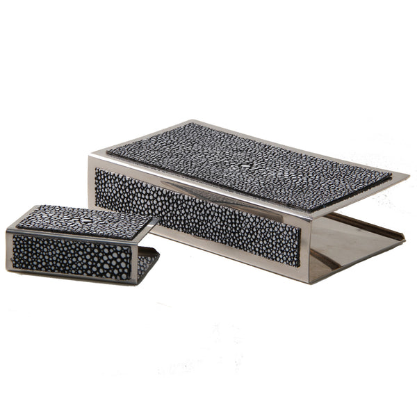 Shagreen Matchbox Holder Large  - Charcoal - Cochine-UK