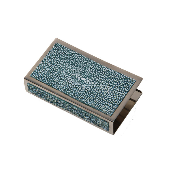 Shagreen Matchbox Holder Large  - Teal - Cochine-UK