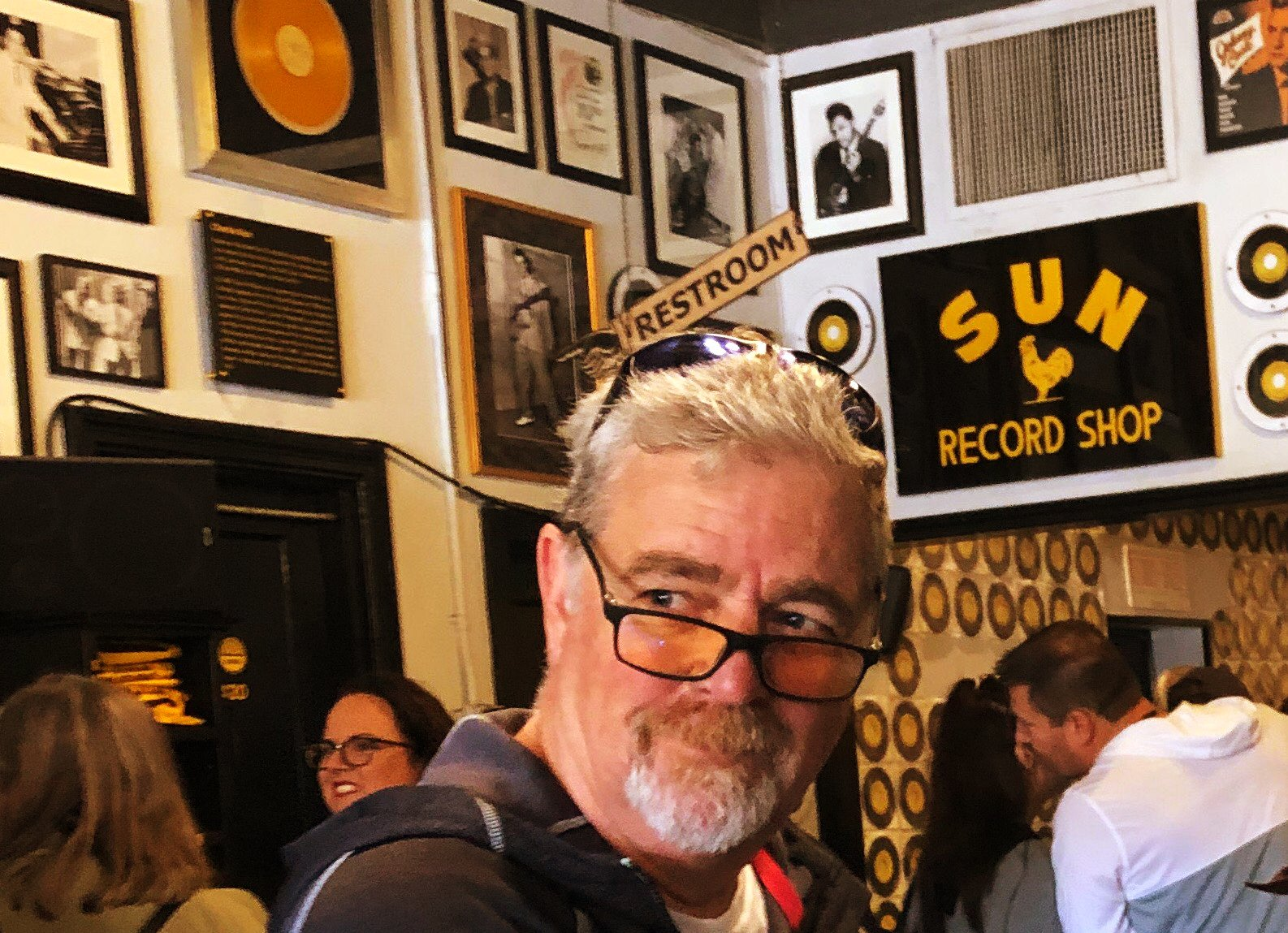 Mike at the Sun records record shop