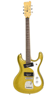 Eastwood Guitars Sidejack PRO DLX Gold Metal Flake Angled