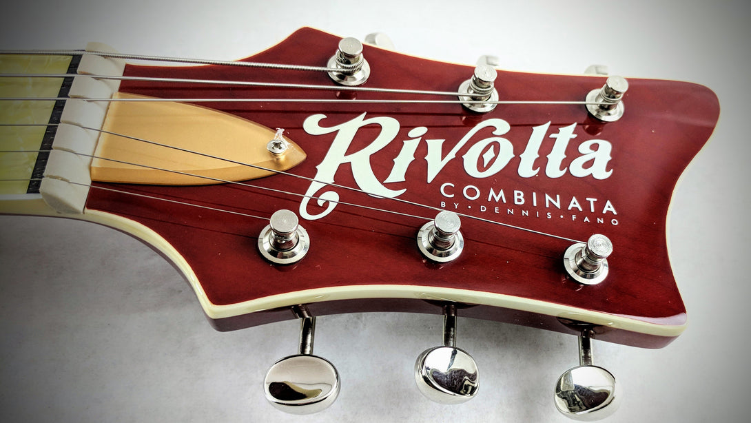 Eastwood Guitars Rivolta Combinata Stop Tail Autunno Burst Headstock