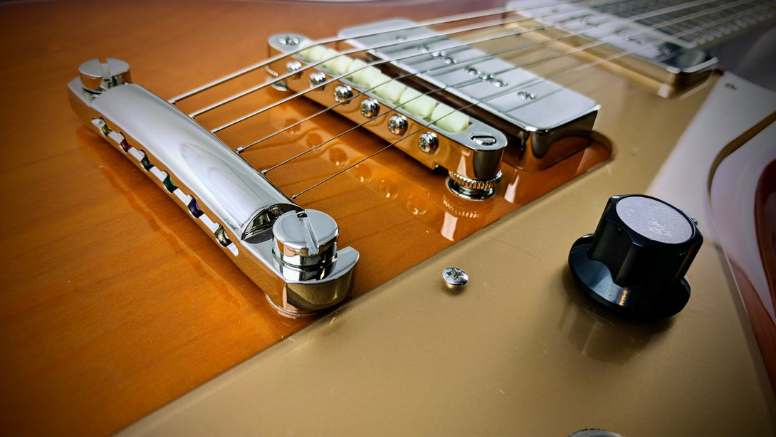 Eastwood Guitars Rivolta Combinata Stop Tail Autunno Burst Closeup