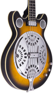 Eastwood Guitars Delta 4 Bass Sunburst Player POV