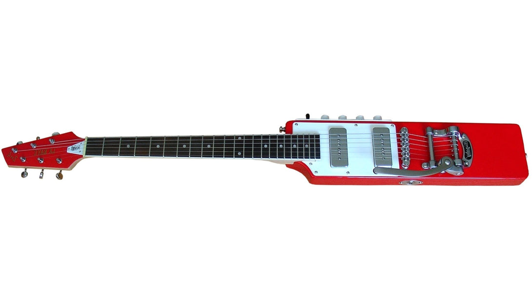 Eastwood Guitars La Baye 2x4 DEVO Signature Red LH Angled