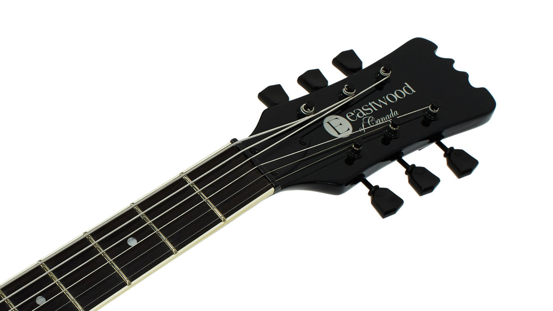Eastwood Guitars Sidejack Baritone Blackout Headstock