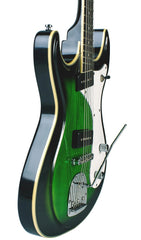 Eastwood Guitars Sidejack Baritone DLX Greenburst Player POV