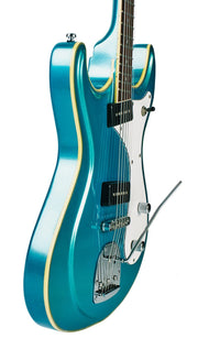 Eastwood Guitars Sidejack Baritone DLX Metallic Blue Player POV