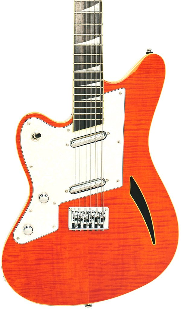 Eastwood Guitars Surfcaster 12 Orange Flame LH Featured