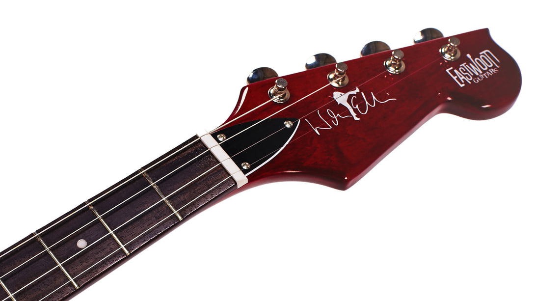 Eastwood Guitars Warren Ellis Tenor 2PDLX Cherry Headstock