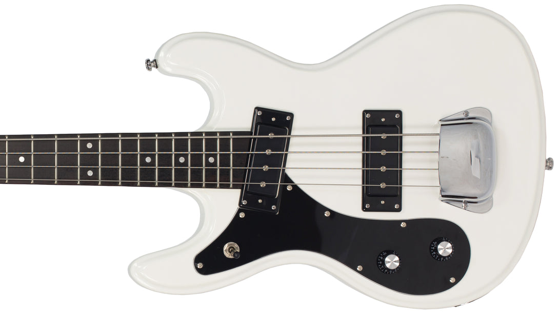 Eastwood Guitars Hi Flyer Bass White LH Closeup