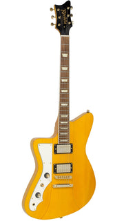 Eastwood Guitars Rivolta Mondata II HB LH Miele Amber and Gold Angled