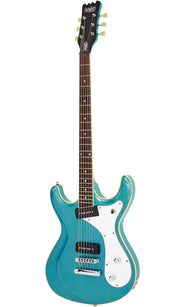 Eastwood Guitars Sidejack Baritone Metallic Blue Angled