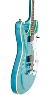 Eastwood Guitars Sidejack Baritone Metallic Blue Player POV