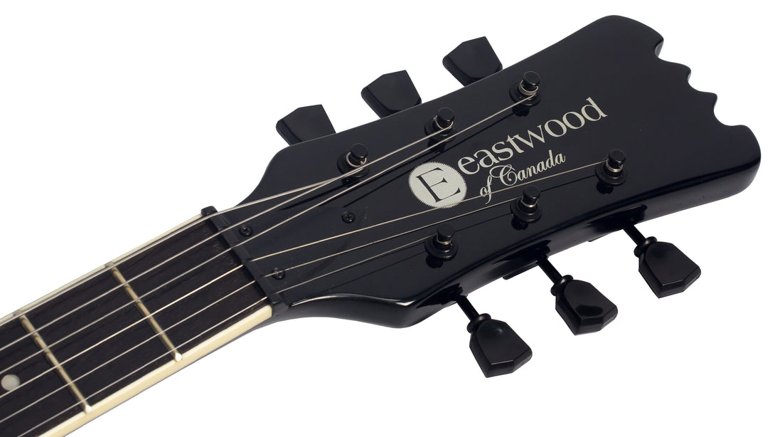 Eastwood Guitars Sidejack HB STD Black Headstock