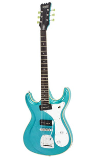 Eastwood Guitars Sidejack DLX Metallic Blue Angled