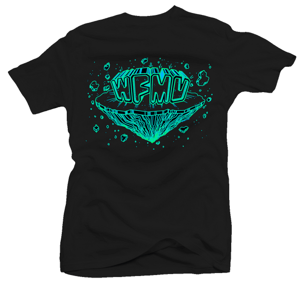 WFMU Space Chunx T-Shirt - Glow-in-the-Dark Blue and Green