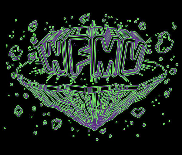 WFMU Space Chunx T-Shirt - Purple and Green