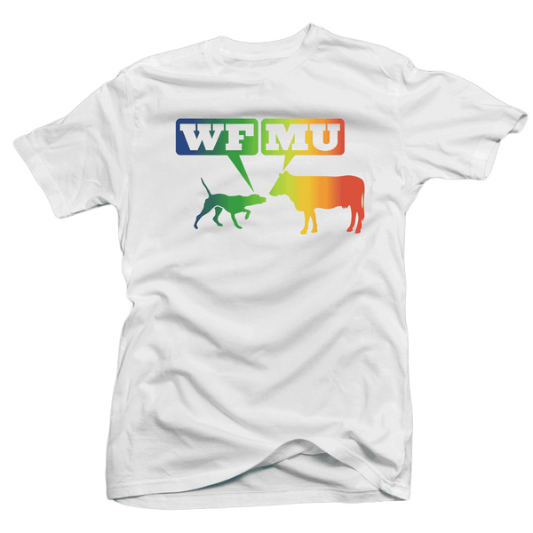 Limited Edition! Woof-Moo Gradient Logo on White T-Shirt. WILD! Very few left!