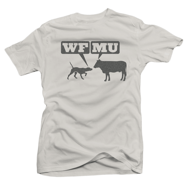 Limited Edition! Silver Woof-Moo Logo on Light Grey T-Shirt!