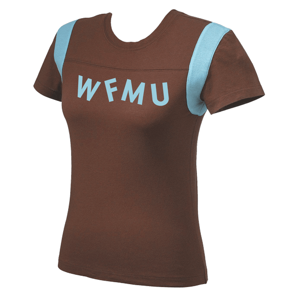 Limited Run! Blue WFMU Logo on Chocolate Brown T-Shirt - Women's Jersey Style