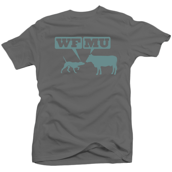 Limited Edition! Greyish Blue Woof-Moo Logo on Gunmetal T-shirt