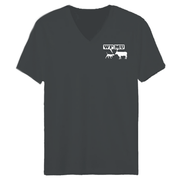 One-of-a-kind! Woof-Moo Logo on a Charcoal Grey V-Neck (Women's xs only)