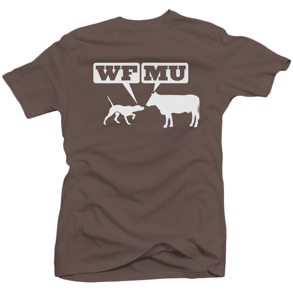 Limited Edition! White Woof-Moo Logo on a Chocolate Brown T-Shirt (Only 1 XS left)