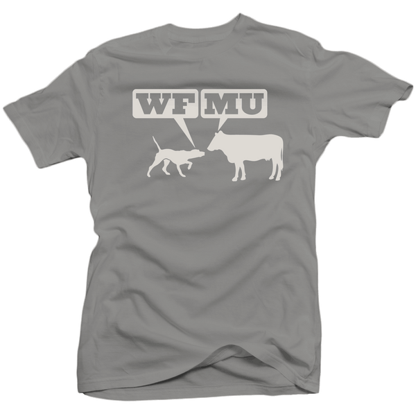 Limited Edition! White Woof-Moo Logo on Greenish-Gray T-Shirt (Only 10 Small made)