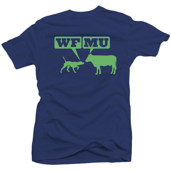 Limited Edition! Green Woof-Moo Logo on Navy Blue T-Shirt (Only Small Left)