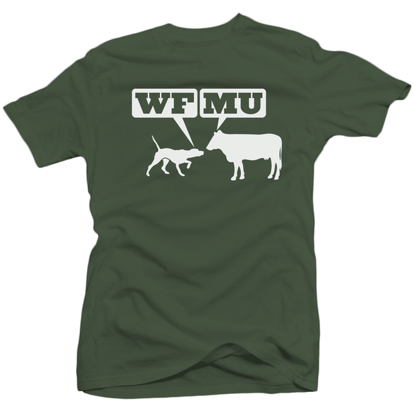Limited Edition! White Woof-Moo Logo on Distressed Army Green T-shirt (Medium only)