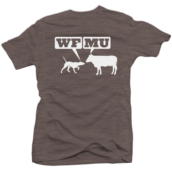 Limited Edition! White Woof-Moo Logo on a Coffee-Colored T-shirt