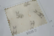 Twill de coton light - Imprimé Rabbit - Ivoire