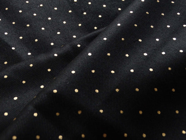 Sergé viscose - Mini pois Or - Noir