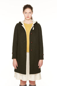 Duffle coat in loden fabric with hood.