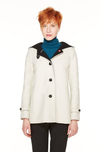 Short Duffle coat in loden fabric with hood.