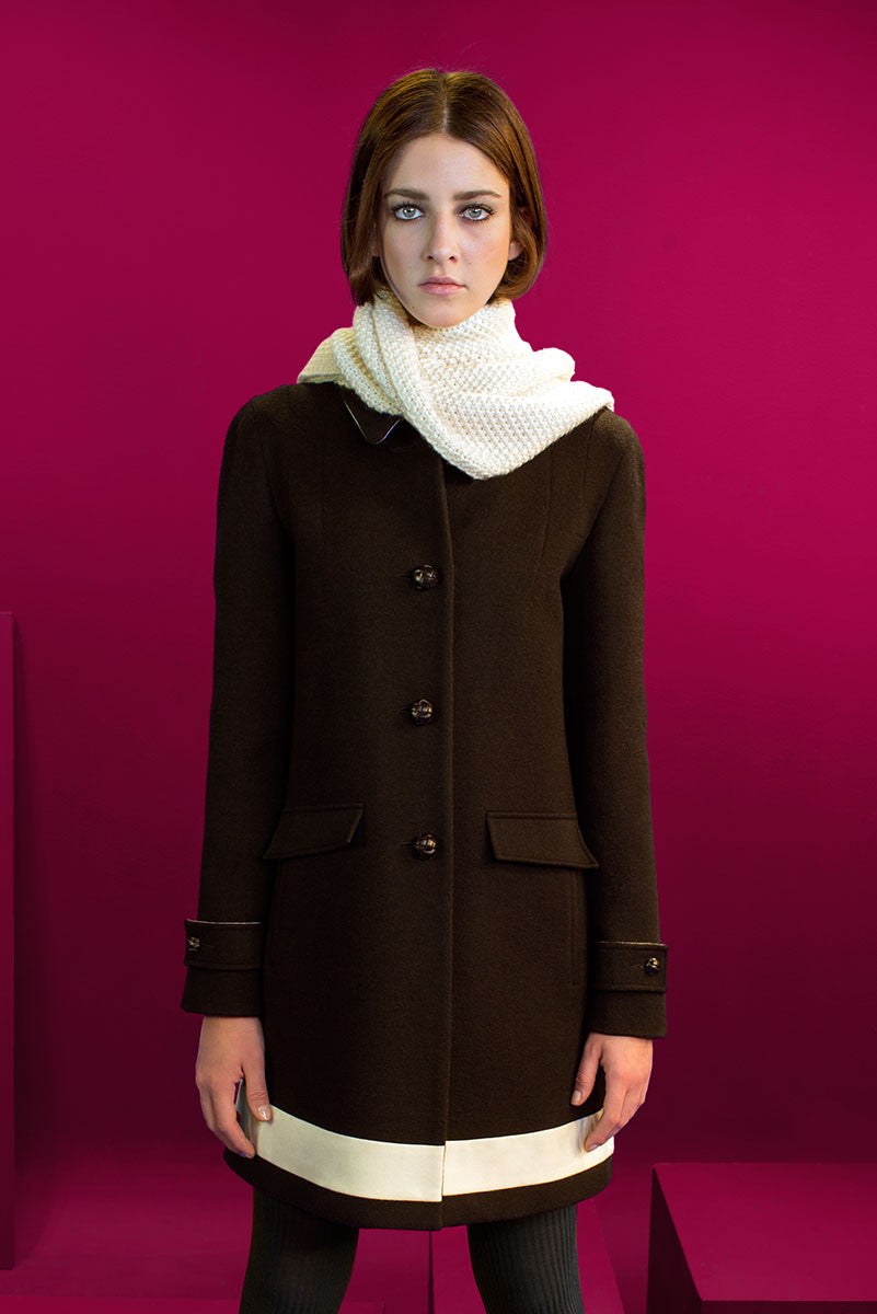 Loden coat with inlay wool stripe.