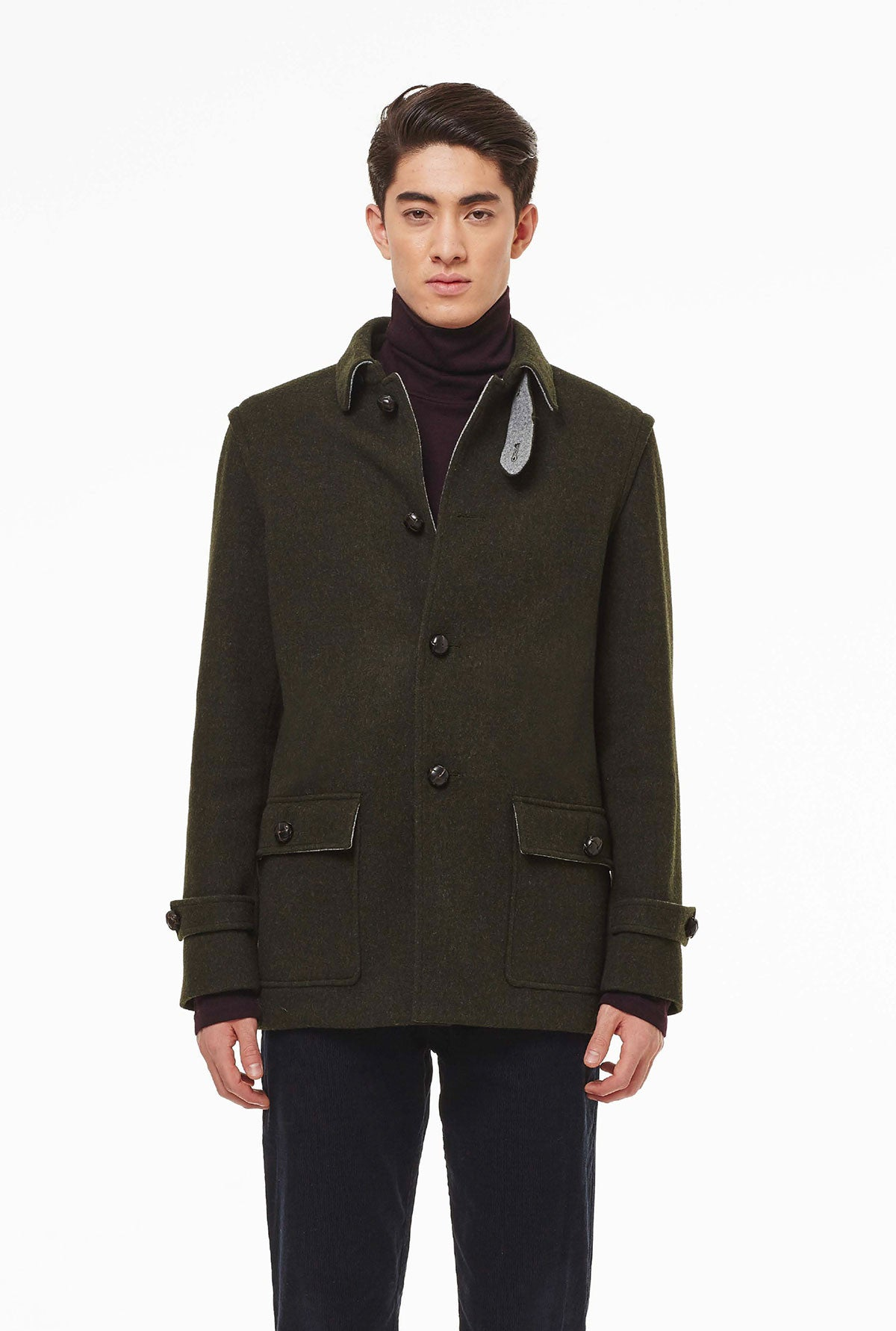 Hunting jacket in loden fabric.