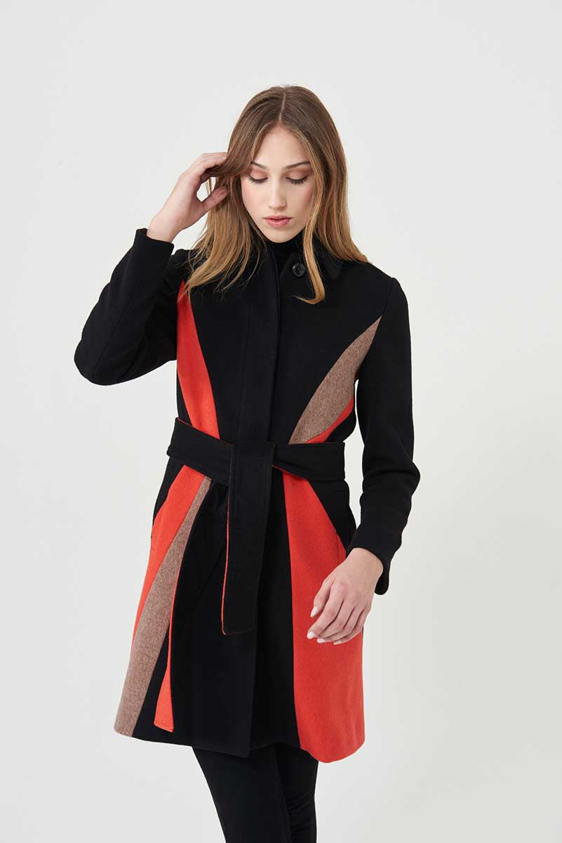 Coat in loden fabric with geometric inserts