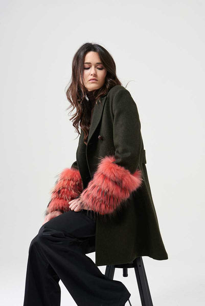 Coat In loden fabric with muff in fox and red lapin fur