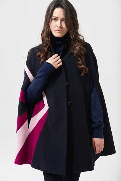 Cape in loden fabric with geometric inserts