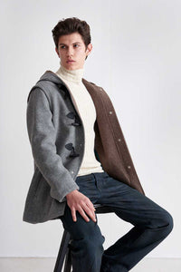 Short duffle-jacket in loden fabric